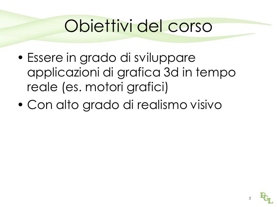 5 Obiettivi del corso Essere in grado di sviluppare applicazioni di grafica 3d in tempo reale (es.