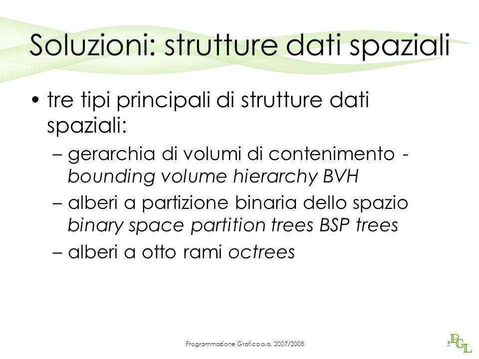 Soluzioni: strutture dati spaziali tre tipi principali di strutture dati spaziali: –gerarchia di volumi di contenimento - bounding volume hierarchy BVH –alberi a partizione binaria dello spazio binary space partition trees BSP trees –alberi a otto rami octrees 5 Programmazione Grafica a.a.
