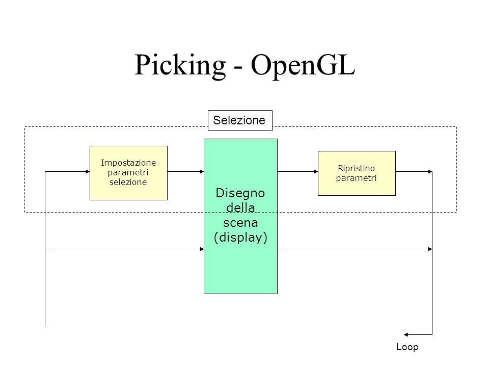 Picking - OpenGL Prima di disegnare la scene per la selezione: –Inizializzo il buffer di selezione e lo stack dei nomi glSelectBuffer(BUFSIZE, selectBuf); glRenderMode(GL_SELECT); glInitNames(); –Imposto la matrice di picking e la matrice di vista glMatrixMode(GL_PROJECTION); glPushMatrix(); glLoadIdentity(); gluPickMatrix(cursorX,viewport[3]-cursorY,5,5,viewport); gluPerspective(45, ratio, 1.0f, 1000.0f); glMatrixMode(GL_MODELVIEW);