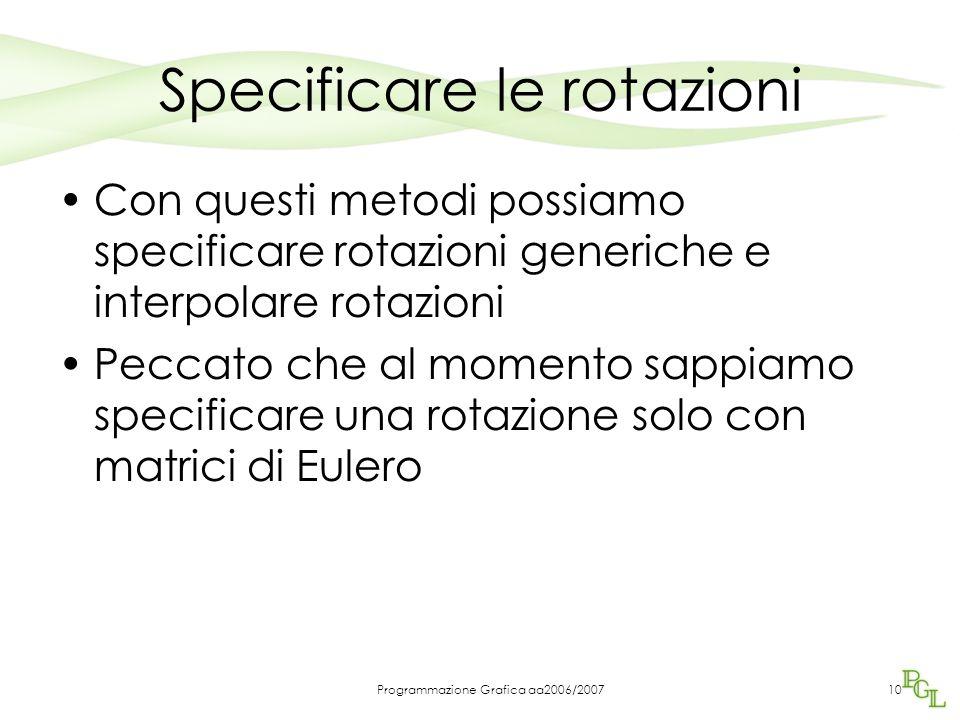 Programmazione Grafica aa2006/200710 Specificare le rotazioni Con questi metodi possiamo specificare rotazioni generiche e interpolare rotazioni Peccato che al momento sappiamo specificare una rotazione solo con matrici di Eulero