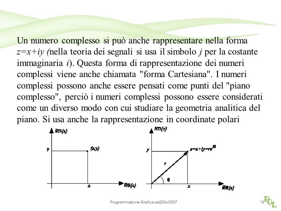 Programmazione Grafica aa2006/200713 Un numero complesso si può anche rappresentare nella forma z=x+iy (nella teoria dei segnali si usa il simbolo j per la costante immaginaria i).