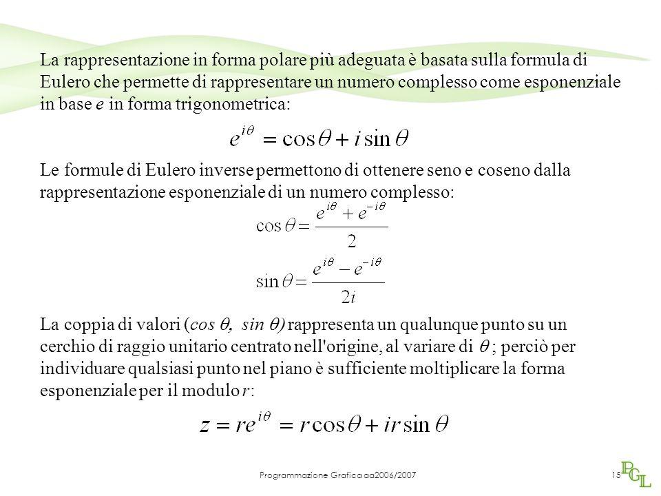 Programmazione Grafica aa2006/200715 La rappresentazione in forma polare più adeguata è basata sulla formula di Eulero che permette di rappresentare un numero complesso come esponenziale in base e in forma trigonometrica: Le formule di Eulero inverse permettono di ottenere seno e coseno dalla rappresentazione esponenziale di un numero complesso: La coppia di valori (cos  sin  rappresenta un qualunque punto su un cerchio di raggio unitario centrato nell origine, al variare di  ; perciò per individuare qualsiasi punto nel piano è sufficiente moltiplicare la forma esponenziale per il modulo r: