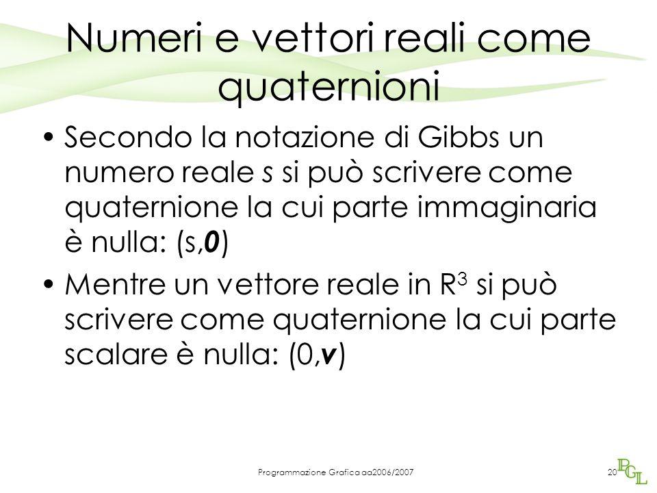 Programmazione Grafica aa2006/200720 Numeri e vettori reali come quaternioni Secondo la notazione di Gibbs un numero reale s si può scrivere come quaternione la cui parte immaginaria è nulla: (s, 0 ) Mentre un vettore reale in R 3 si può scrivere come quaternione la cui parte scalare è nulla: (0, v )