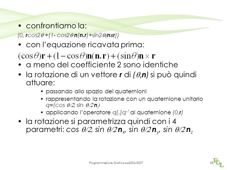 Programmazione Grafica aa2006/200728 confrontiamo la: (0, r cos2  +(1- cos2  n ( n.r )+sin2  n x r )) con l'equazione ricavata prima: a meno del coefficiente 2 sono identiche la rotazione di un vettore r di (  n ) si può quindi attuare: passando allo spazio dei quaternioni rappresentando la rotazione con un quaternione unitario q=(cos , sin  n  applicando l'operatore q(.)q -1 al quaternione (0, r ) la rotazione si parametrizza quindi con i 4 parametri: cos , sin  n x, sin  n y, sin  n z