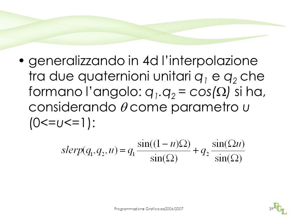 Programmazione Grafica aa2006/200739 generalizzando in 4d l'interpolazione tra due quaternioni unitari q 1 e q 2 che formano l'angolo: q 1.q 2 = cos(  ) si ha, considerando  come parametro u (0<=u<=1):