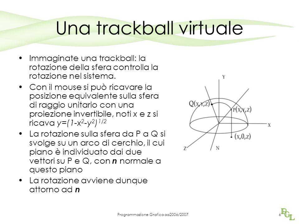 Programmazione Grafica aa2006/20076 Una trackball virtuale Immaginate una trackball: la rotazione della sfera controlla la rotazione nel sistema.