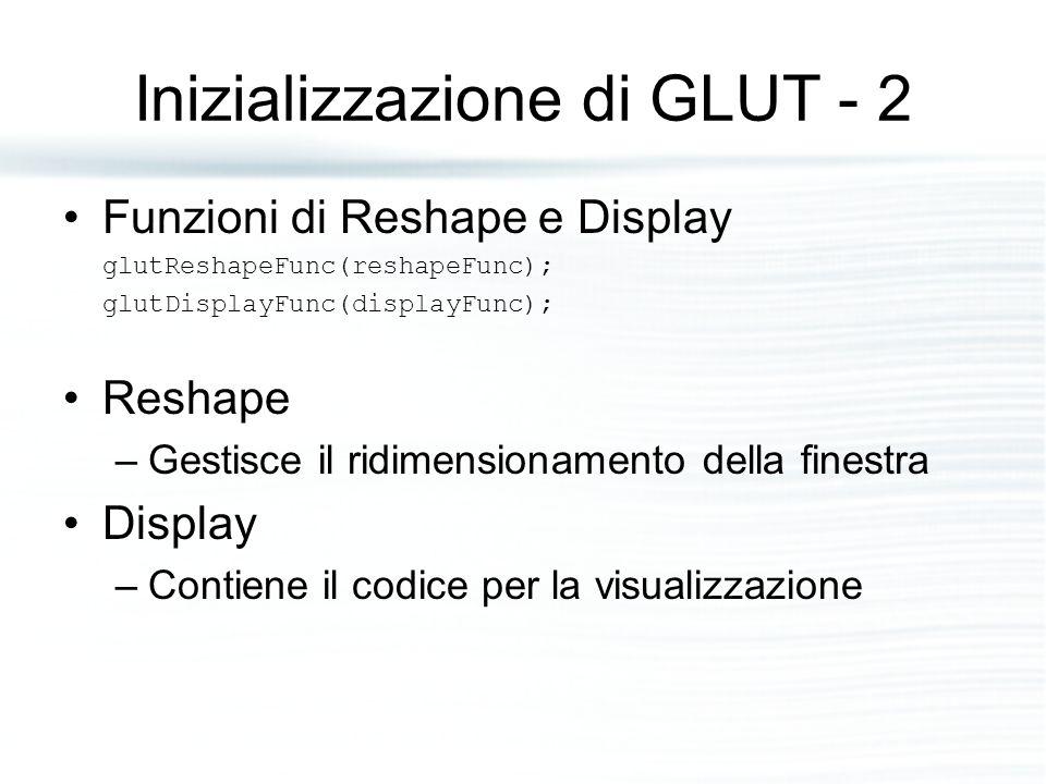 Inizializzazione di GLUT - 2 Funzioni di Reshape e Display glutReshapeFunc(reshapeFunc); glutDisplayFunc(displayFunc); Reshape –Gestisce il ridimensionamento della finestra Display –Contiene il codice per la visualizzazione