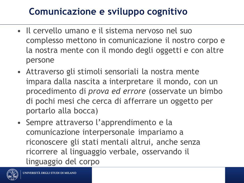 Comunicazione e sviluppo cognitivo Il cervello umano e il sistema nervoso nel suo complesso mettono in comunicazione il nostro corpo e la nostra mente