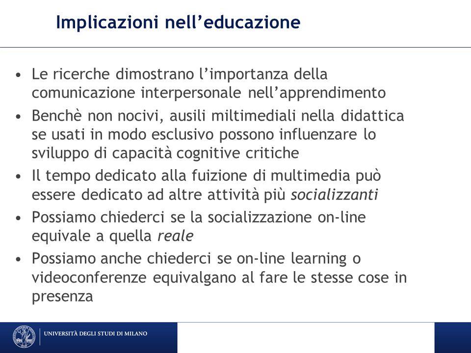 Implicazioni nell'educazione Le ricerche dimostrano l'importanza della comunicazione interpersonale nell'apprendimento Benchè non nocivi, ausili milti