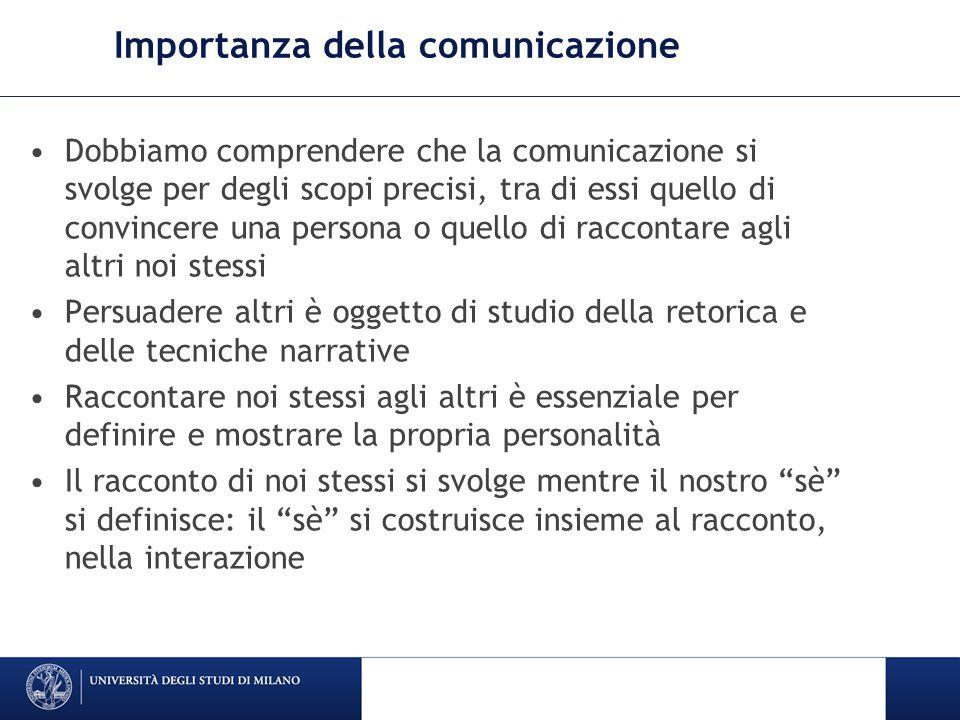 Importanza della comunicazione Dobbiamo comprendere che la comunicazione si svolge per degli scopi precisi, tra di essi quello di convincere una perso
