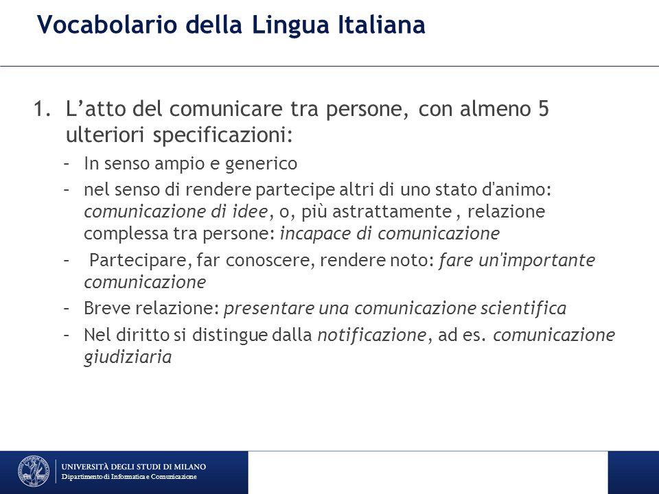 Vocabolario della Lingua Italiana 1.L'atto del comunicare tra persone, con almeno 5 ulteriori specificazioni: –In senso ampio e generico –nel senso di