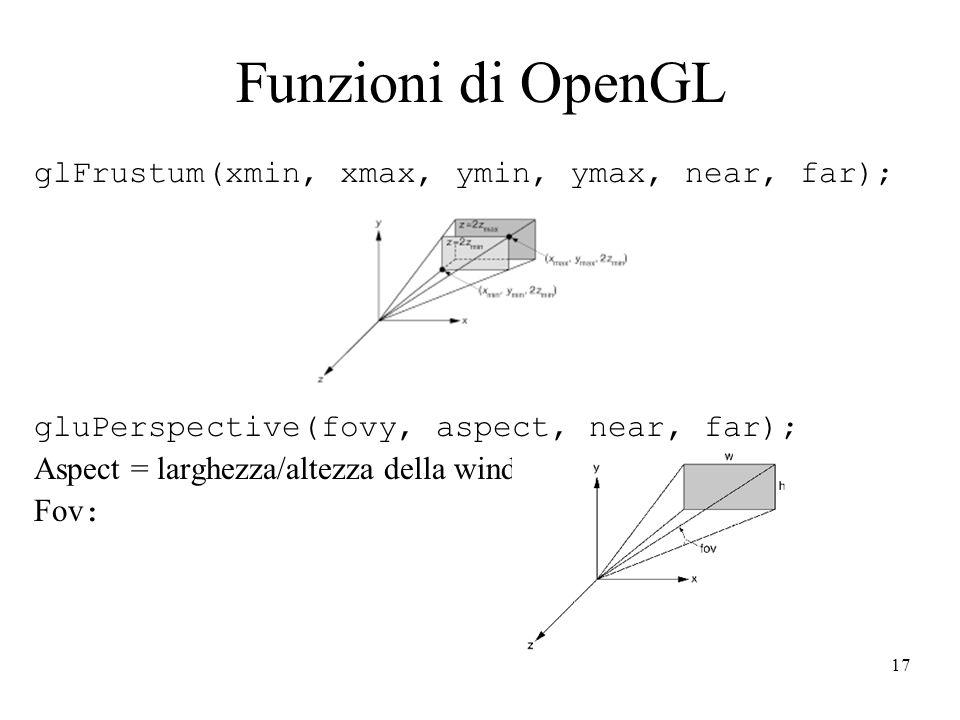 17 Funzioni di OpenGL glFrustum(xmin, xmax, ymin, ymax, near, far); gluPerspective(fovy, aspect, near, far); Aspect = larghezza/altezza della window Fov :