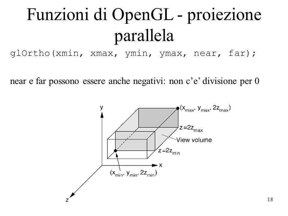 18 Funzioni di OpenGL - proiezione parallela glOrtho(xmin, xmax, ymin, ymax, near, far); near e far possono essere anche negativi: non c'e' divisione per 0