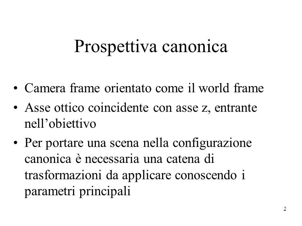 2 Prospettiva canonica Camera frame orientato come il world frame Asse ottico coincidente con asse z, entrante nell'obiettivo Per portare una scena nella configurazione canonica è necessaria una catena di trasformazioni da applicare conoscendo i parametri principali