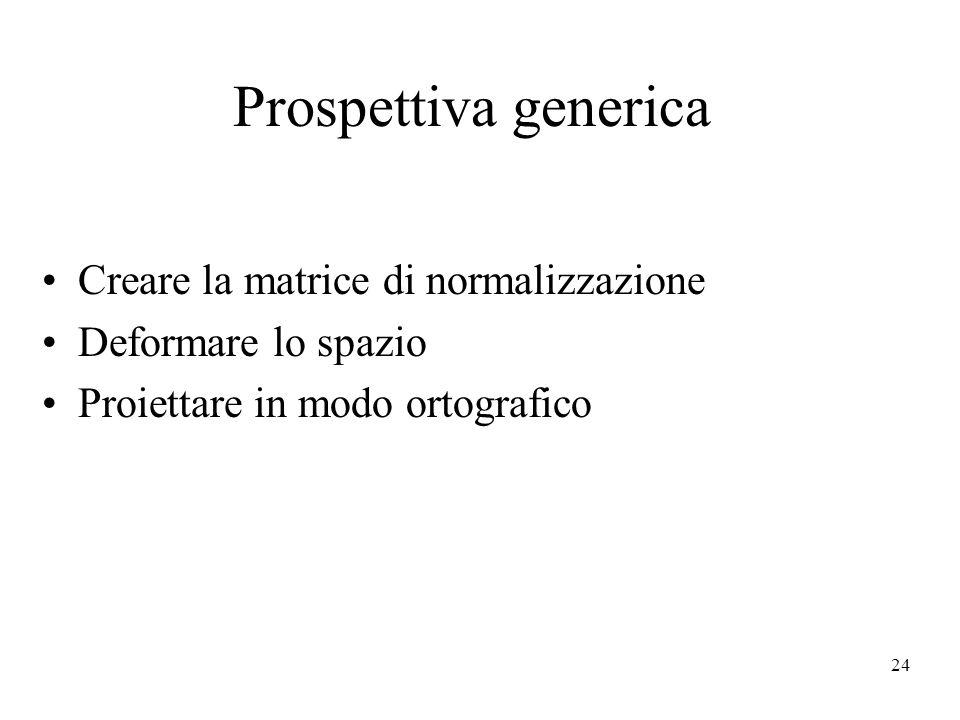 24 Prospettiva generica Creare la matrice di normalizzazione Deformare lo spazio Proiettare in modo ortografico