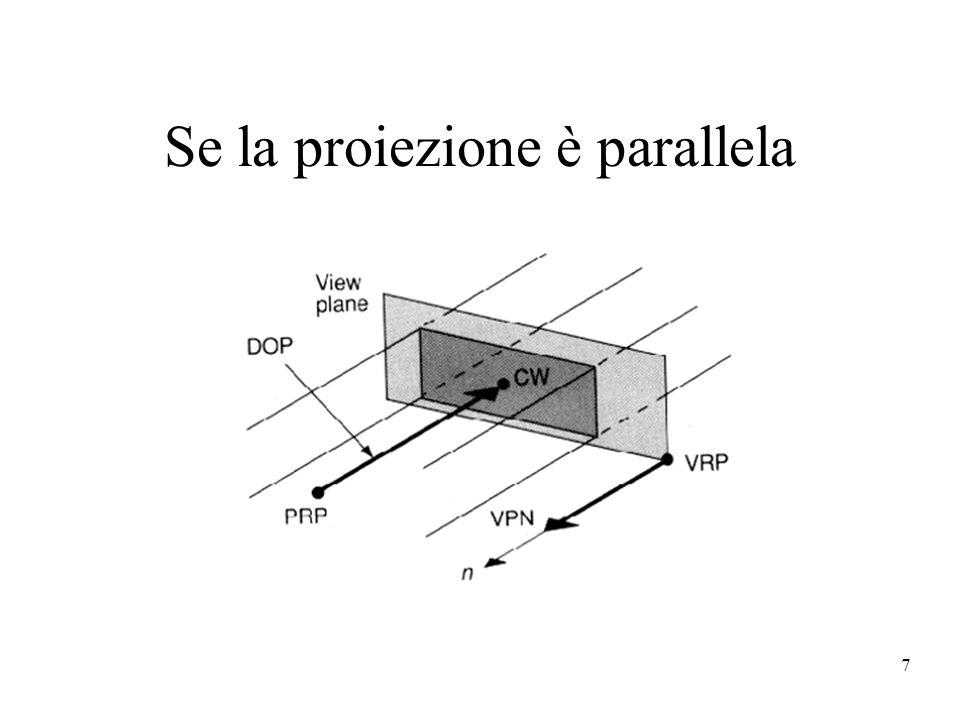 7 Se la proiezione è parallela