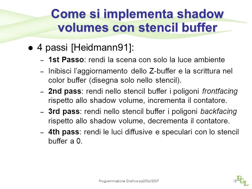 Programmazione Grafica aa2006/200718 Come si implementa shadow volumes con stencil buffer 4 passi [Heidmann91]: – 1st Passo: rendi la scena con solo l