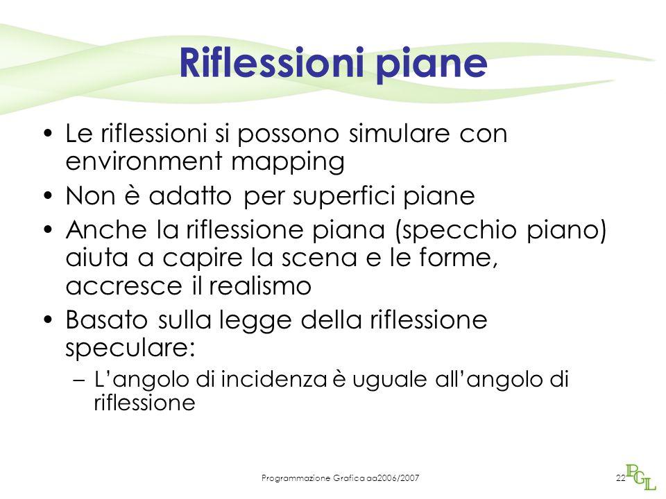 Programmazione Grafica aa2006/200722 Riflessioni piane Le riflessioni si possono simulare con environment mapping Non è adatto per superfici piane Anc
