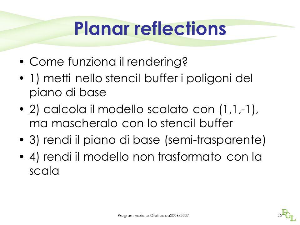 Programmazione Grafica aa2006/200725 Planar reflections Come funziona il rendering? 1) metti nello stencil buffer i poligoni del piano di base 2) calc