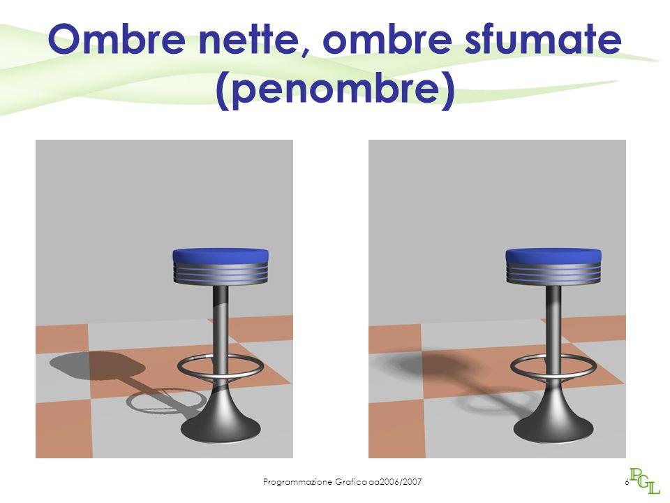 Programmazione Grafica aa2006/200717 Shadow volume usa stencil buffer È un altro buffer di OGL in genere 8 bit per pixel Quando si calcola rendering con stencil buffer si possono eseguire somme, sottrazioni etc.