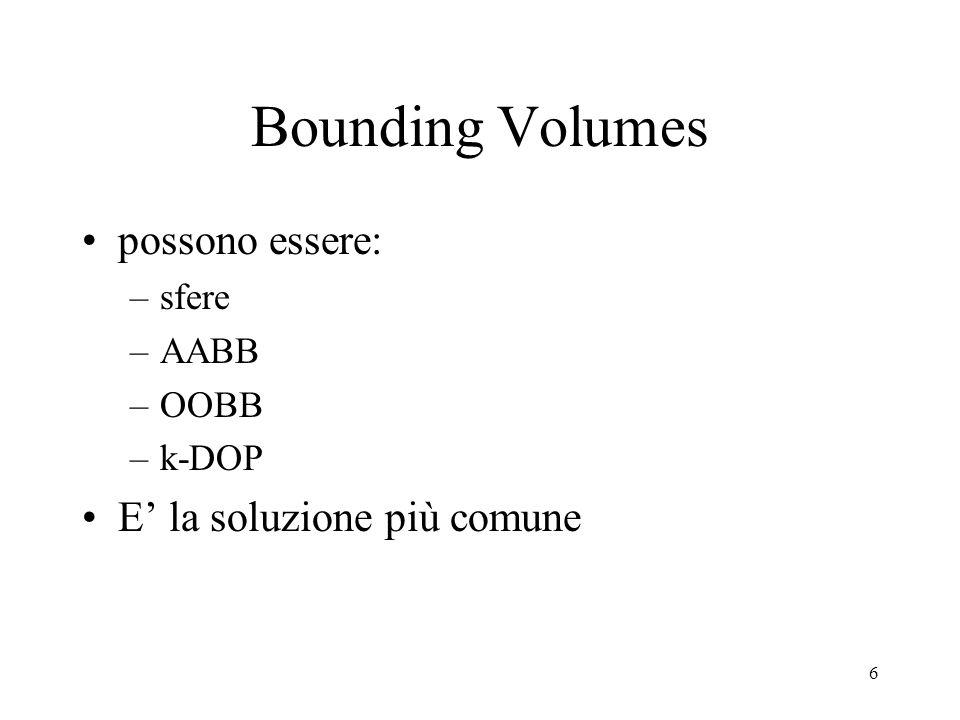 6 Bounding Volumes possono essere: –sfere –AABB –OOBB –k-DOP E' la soluzione più comune