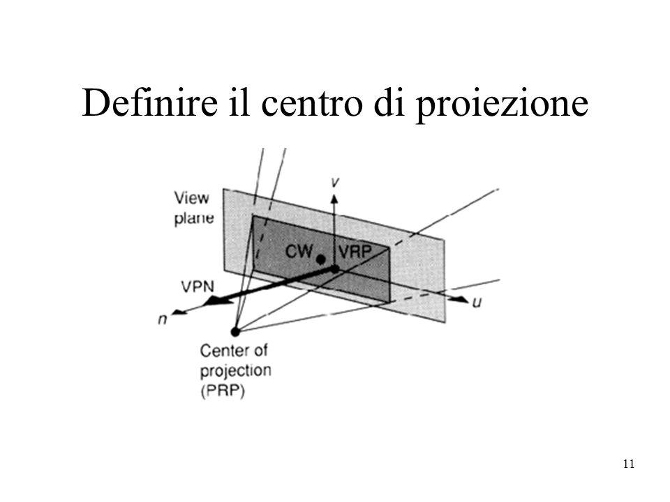 11 Definire il centro di proiezione
