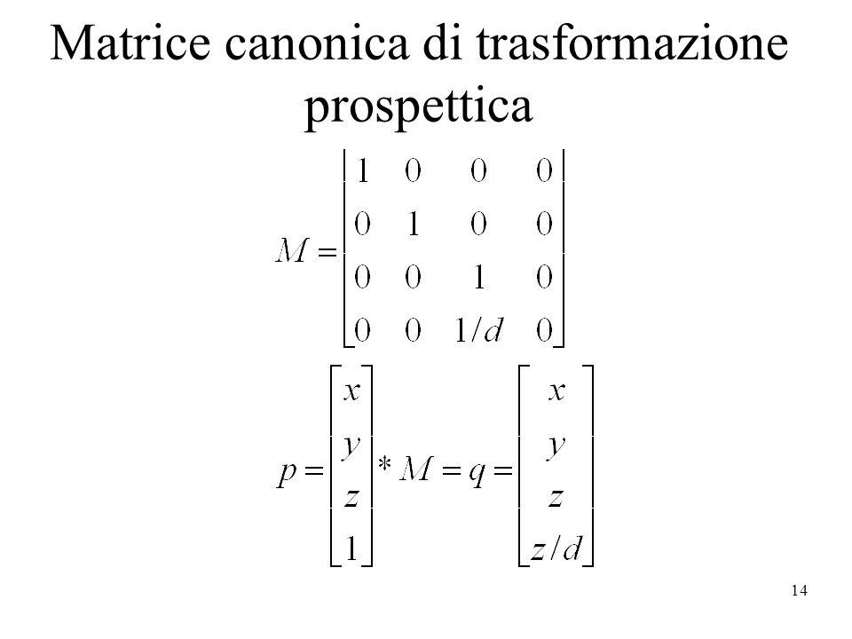 14 Matrice canonica di trasformazione prospettica