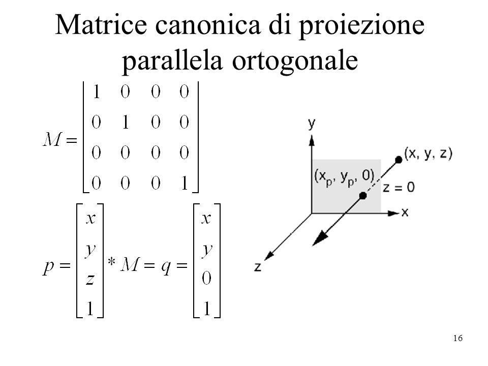 16 Matrice canonica di proiezione parallela ortogonale