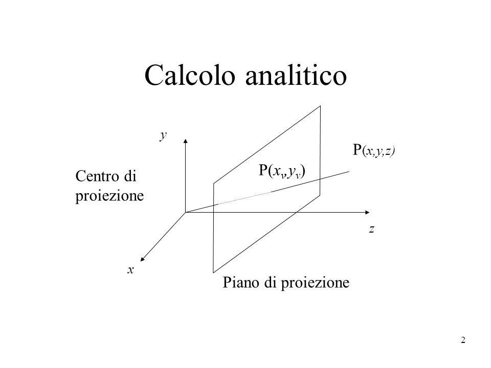 3 z y Piano di proiezione d P (x,y,z) yvyv y/y v = z/d y v = y/(z/d) x/x v = z/d x v = x/(z/d)...