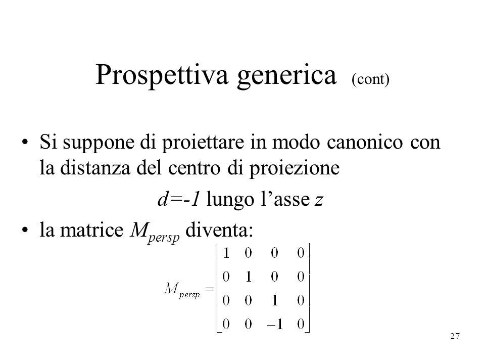27 Prospettiva generica (cont) Si suppone di proiettare in modo canonico con la distanza del centro di proiezione d=-1 lungo l'asse z la matrice M per