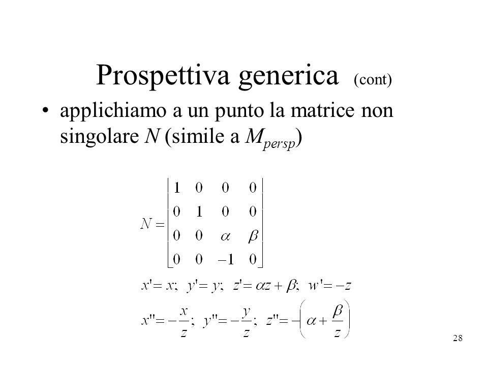 28 Prospettiva generica (cont) applichiamo a un punto la matrice non singolare N (simile a M persp )