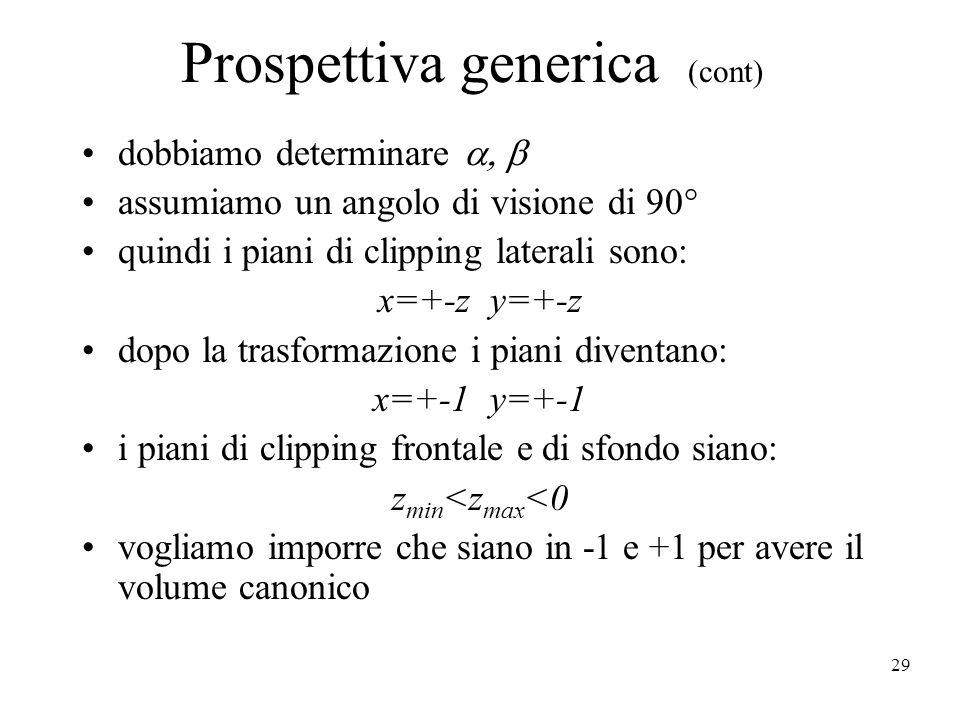 29 Prospettiva generica (cont) dobbiamo determinare  assumiamo un angolo di visione di 90° quindi i piani di clipping laterali sono: x=+-z y=+-z d
