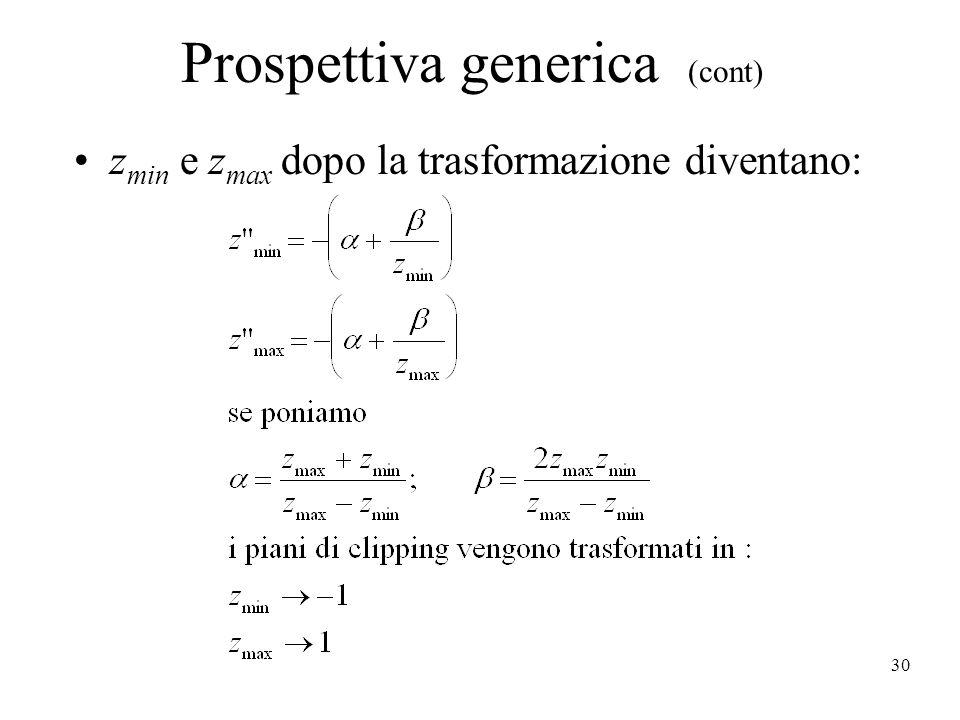 30 Prospettiva generica (cont) z min e z max dopo la trasformazione diventano: