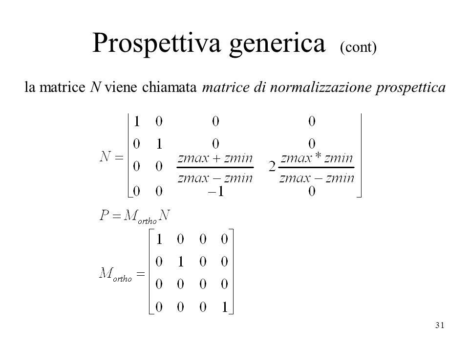 31 Prospettiva generica (cont) la matrice N viene chiamata matrice di normalizzazione prospettica