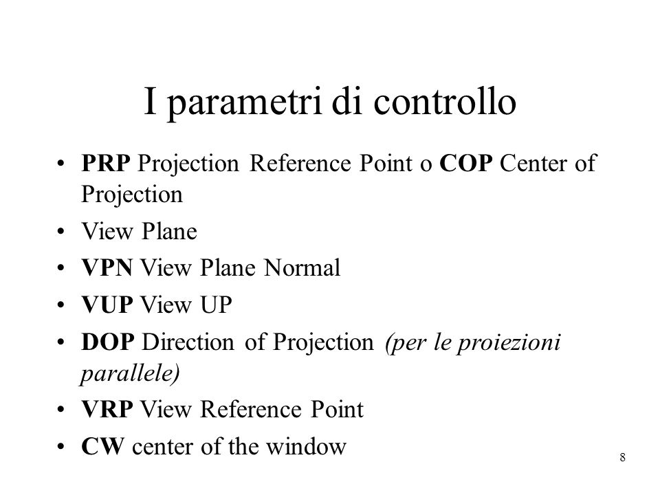 29 Prospettiva generica (cont) dobbiamo determinare  assumiamo un angolo di visione di 90° quindi i piani di clipping laterali sono: x=+-z y=+-z dopo la trasformazione i piani diventano: x=+-1 y=+-1 i piani di clipping frontale e di sfondo siano: z min <z max <0 vogliamo imporre che siano in -1 e +1 per avere il volume canonico