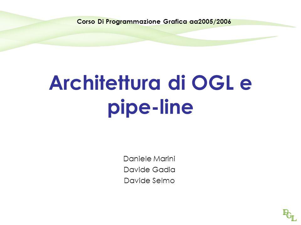 Architettura di OGL e pipe-line Daniele Marini Davide Gadia Davide Selmo Corso Di Programmazione Grafica aa2005/2006