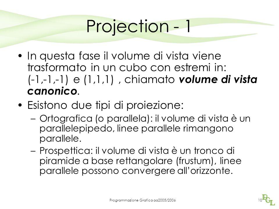 Programmazione Grafica aa2005/200610 Projection - 1 In questa fase il volume di vista viene trasformato in un cubo con estremi in: (-1,-1,-1) e (1,1,1), chiamato volume di vista canonico.