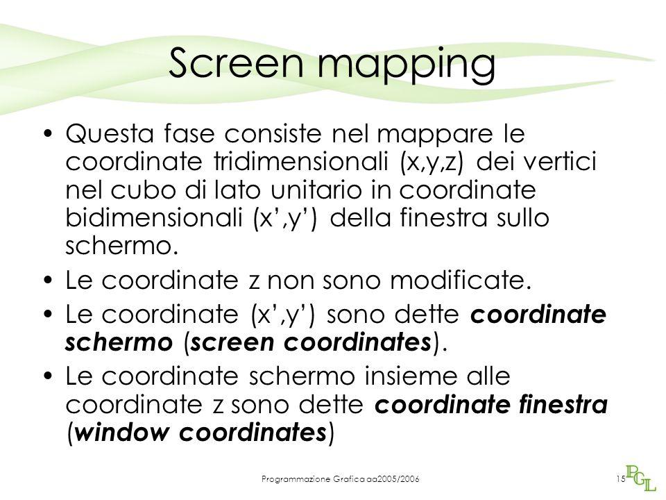 Programmazione Grafica aa2005/200615 Screen mapping Questa fase consiste nel mappare le coordinate tridimensionali (x,y,z) dei vertici nel cubo di lato unitario in coordinate bidimensionali (x',y') della finestra sullo schermo.
