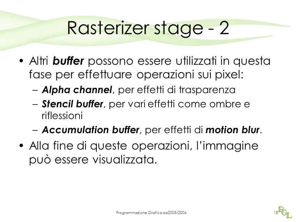 Programmazione Grafica aa2005/200618 Rasterizer stage - 2 Altri buffer possono essere utilizzati in questa fase per effettuare operazioni sui pixel: – Alpha channel, per effetti di trasparenza – Stencil buffer, per vari effetti come ombre e riflessioni – Accumulation buffer, per effetti di motion blur.