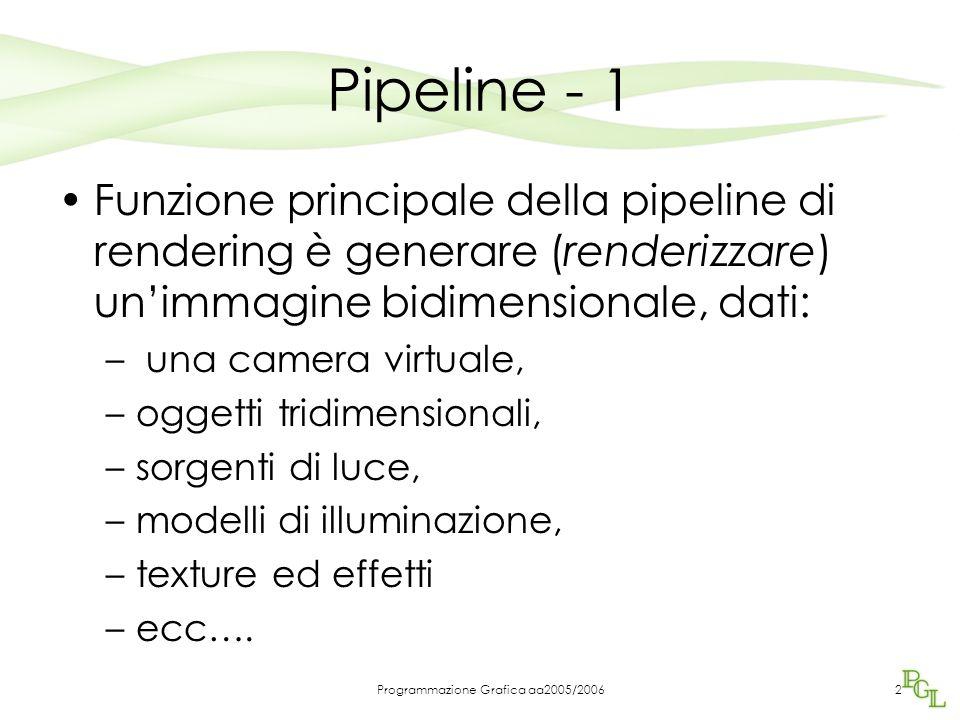 Programmazione Grafica aa2005/20062 Pipeline - 1 Funzione principale della pipeline di rendering è generare (renderizzare) un'immagine bidimensionale,