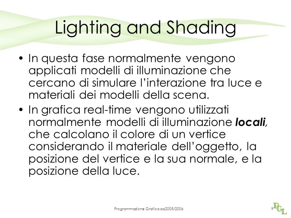 Programmazione Grafica aa2005/20069 Lighting and Shading In questa fase normalmente vengono applicati modelli di illuminazione che cercano di simulare l'interazione tra luce e materiali dei modelli della scena.