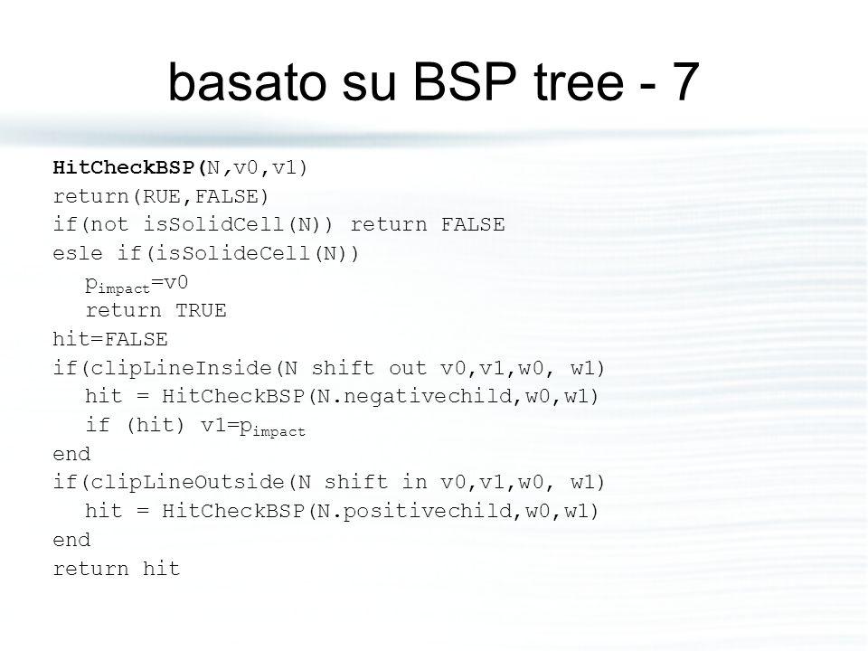 basato su BSP tree - 7 HitCheckBSP(N,v0,v1) return(RUE,FALSE) if(not isSolidCell(N)) return FALSE esle if(isSolideCell(N)) p impact =v0 return TRUE hi