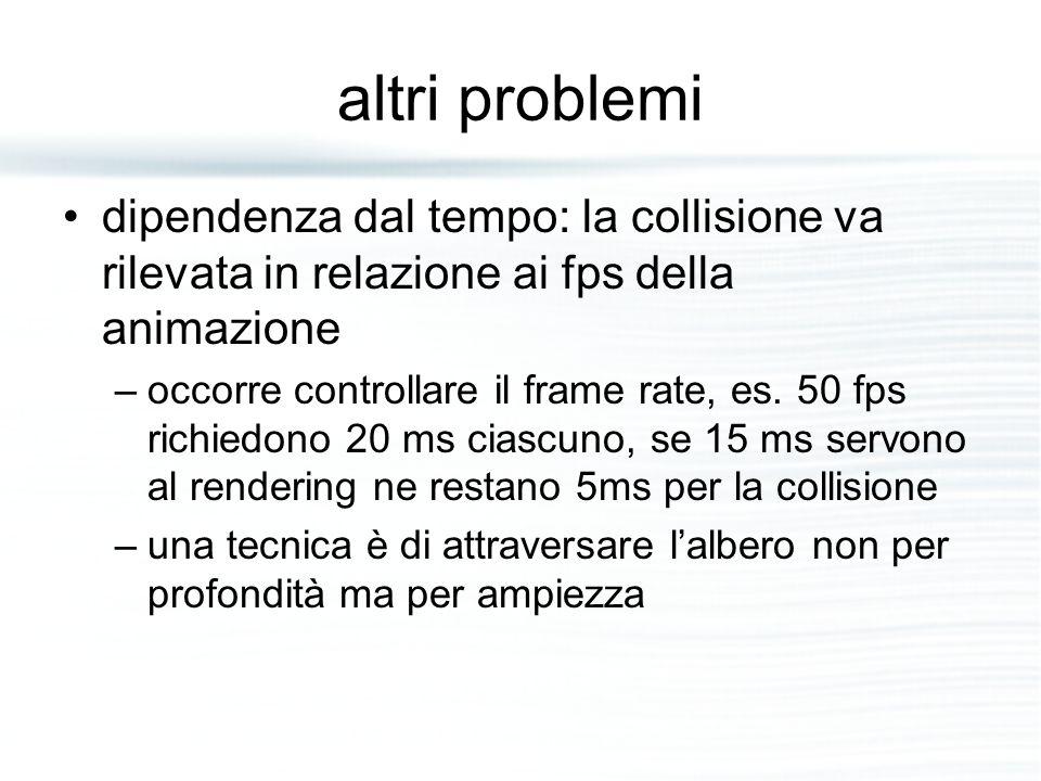 altri problemi dipendenza dal tempo: la collisione va rilevata in relazione ai fps della animazione –occorre controllare il frame rate, es. 50 fps ric