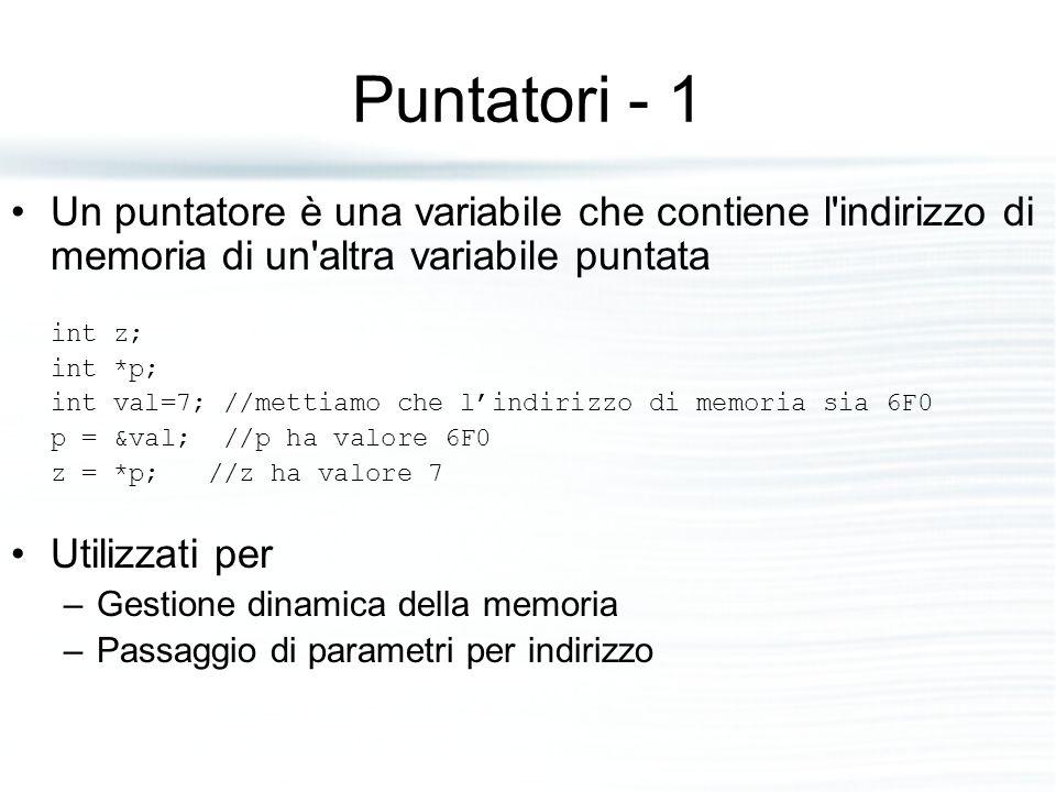 Puntatori - 1 Un puntatore è una variabile che contiene l'indirizzo di memoria di un'altra variabile puntata int z; int *p; int val=7; //mettiamo che