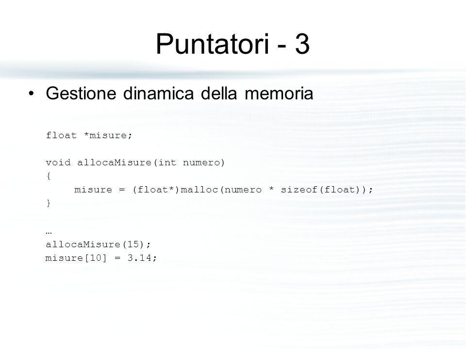Puntatori - 3 Gestione dinamica della memoria float *misure; void allocaMisure(int numero) { misure = (float*)malloc(numero * sizeof(float)); } … allo