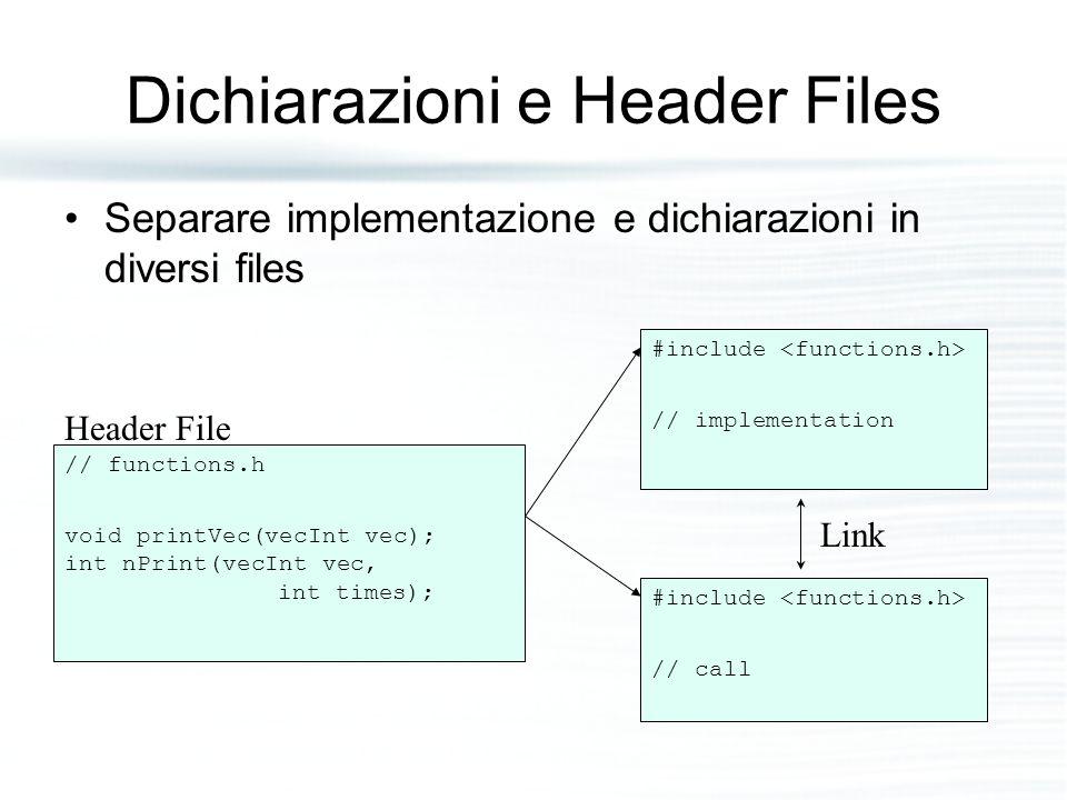 Dichiarazioni e Header Files Separare implementazione e dichiarazioni in diversi files // functions.h void printVec(vecInt vec); int nPrint(vecInt vec