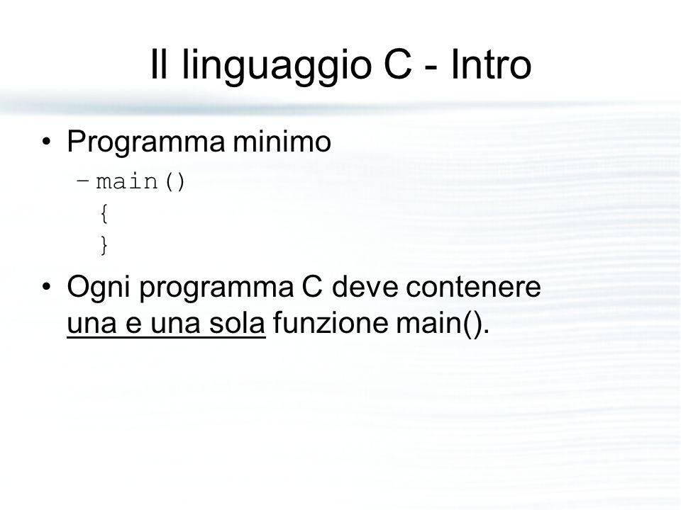 Il linguaggio C - Intro Programma minimo –main() { } Ogni programma C deve contenere una e una sola funzione main().