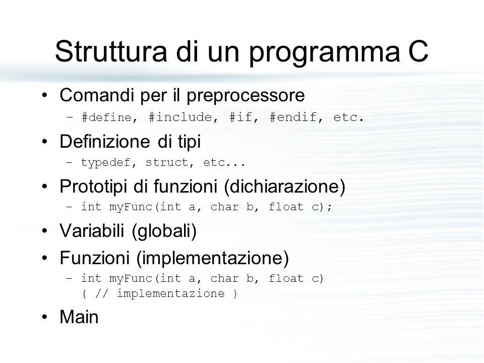 Struttura di un programma C Comandi per il preprocessore –# define, #include, #if, #endif, etc. Definizione di tipi –typedef, struct, etc... Prototipi