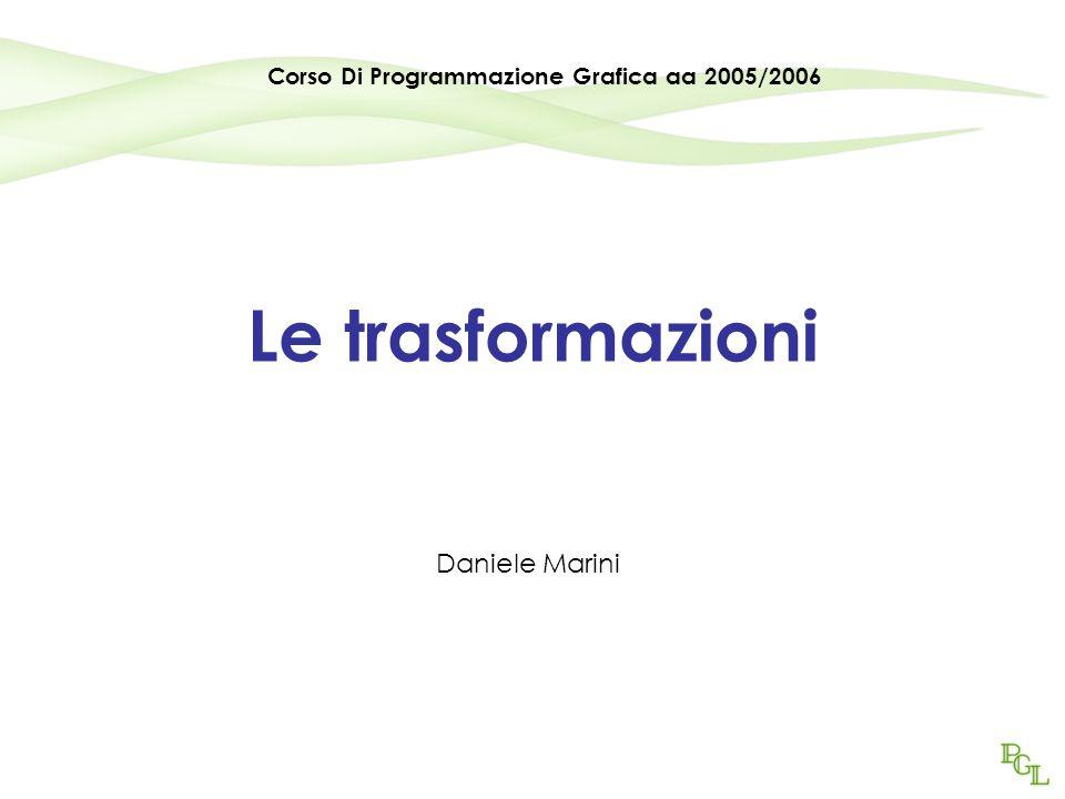 Programmazione Grafica aa2005/20062 Concetti Spazio affine Coordinate omogenee Matrici Traslazione, Scala, Rotazione, Shear Prodotto matrice-vettore colonna
