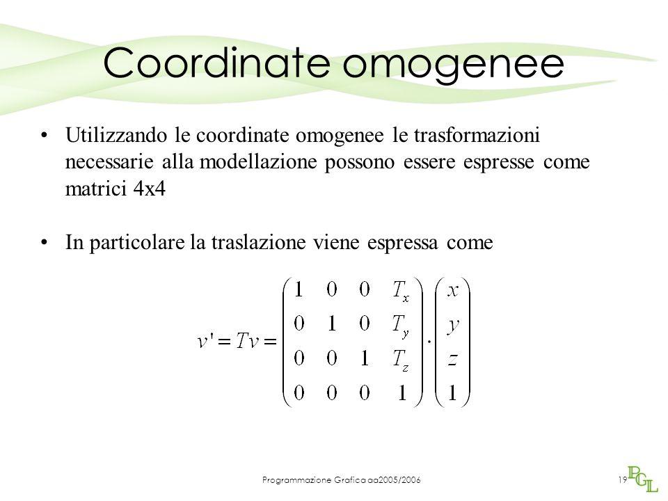 Programmazione Grafica aa2005/200619 Coordinate omogenee Utilizzando le coordinate omogenee le trasformazioni necessarie alla modellazione possono essere espresse come matrici 4x4 In particolare la traslazione viene espressa come